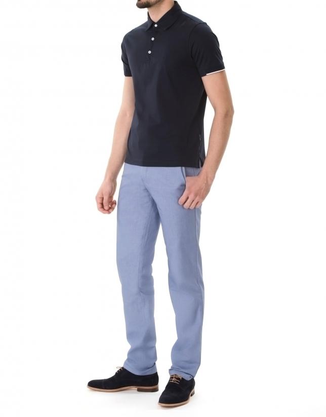 Polo en jersey uni bleu marine.