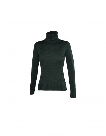 Roll collar pullover in dark green