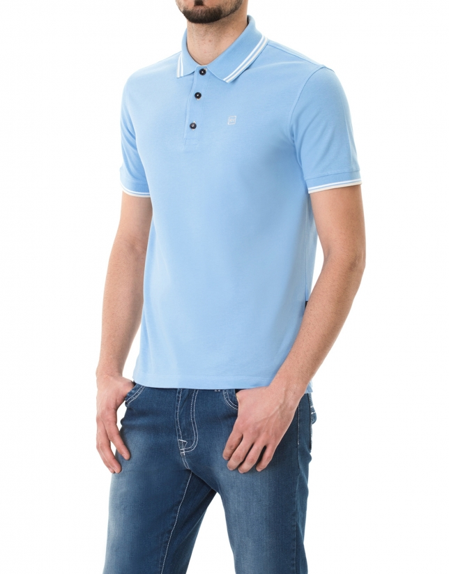 Light blue and beige piqué polo