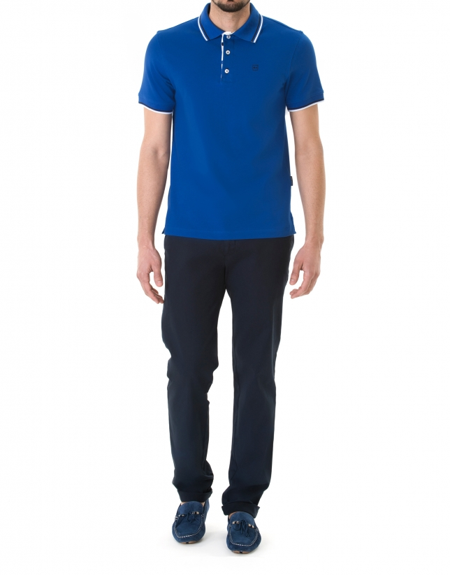 Blue and white pique polo