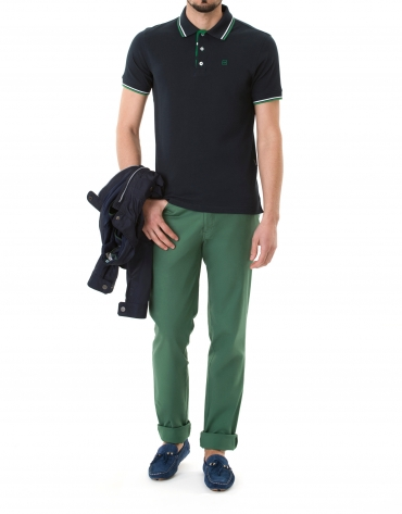 Navy blue and green pique polo