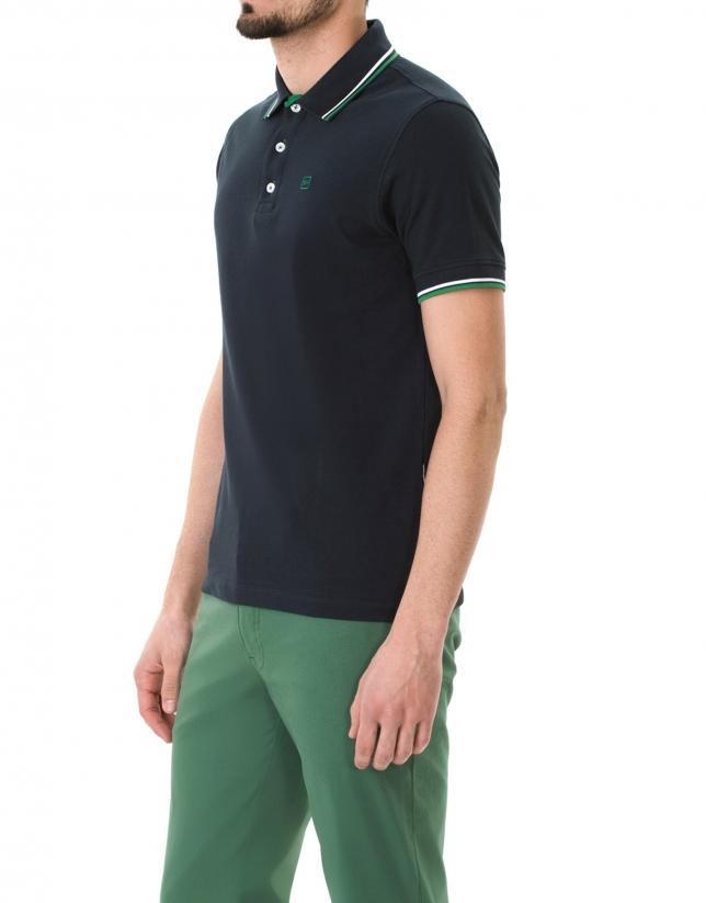 Navy blue and green pique polo