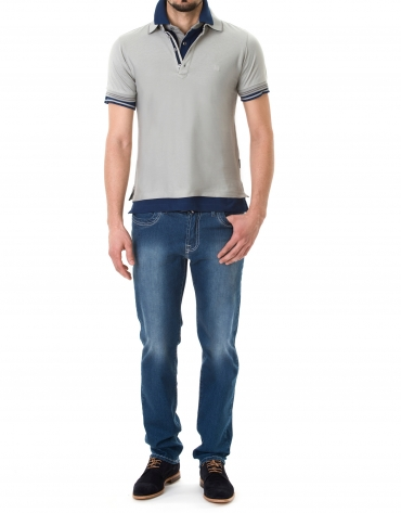 Gray jacquard polo