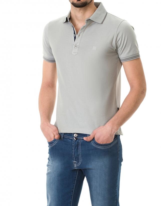 Polo piqué jacquard gris