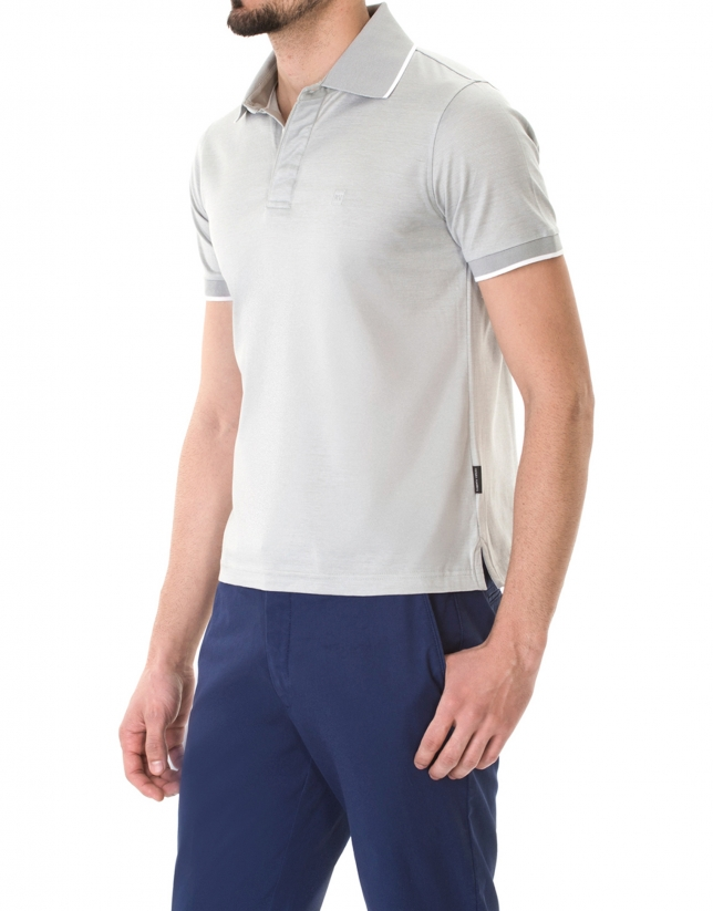 Gray and white jacquard polo