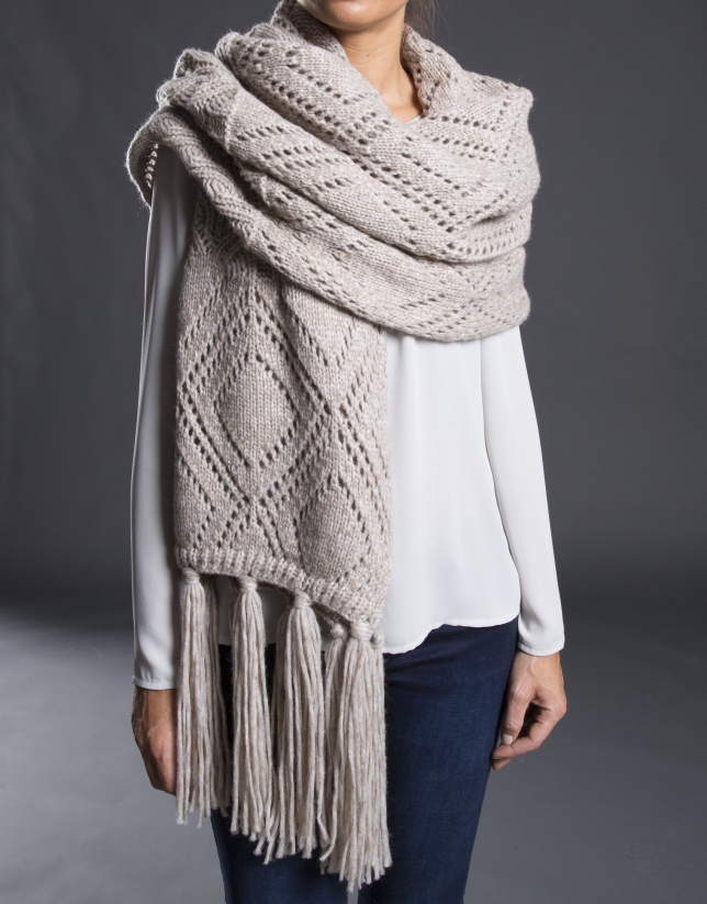 charpe tricot beige mélange