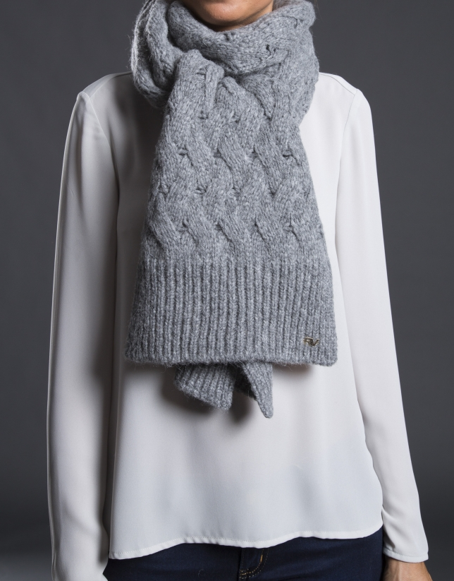 Charpe tricot gris