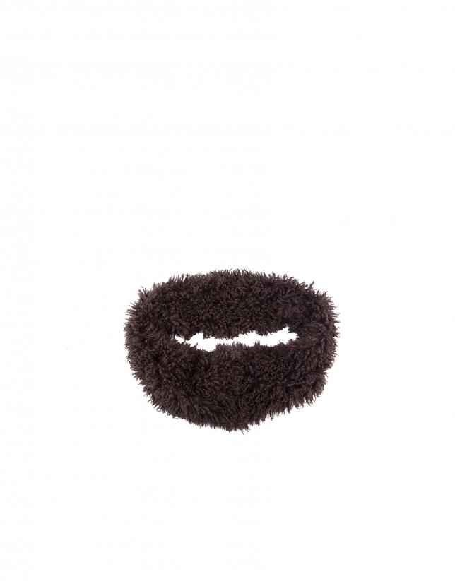 Brown fake fur infinity scarf
