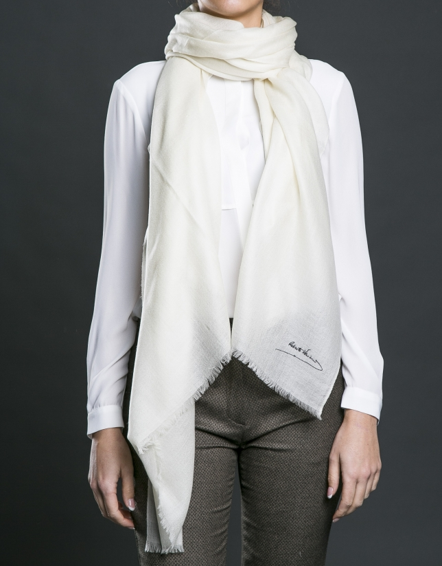 Plain white foulard