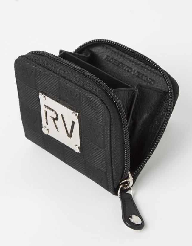 Monedero pequeño negro jackard RV