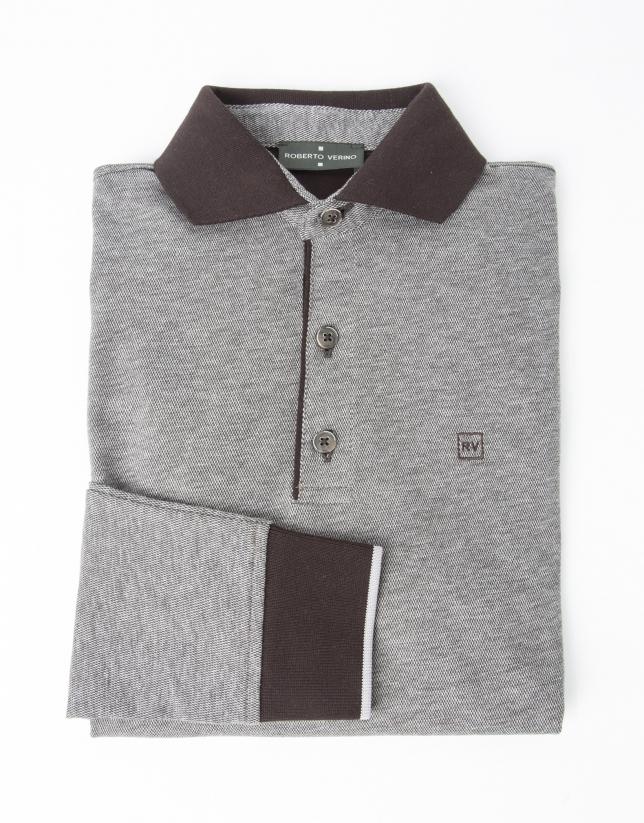 Brown piqué t-shirt