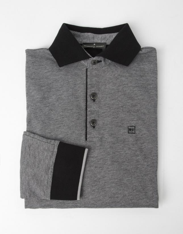 Black piqué t-shirt