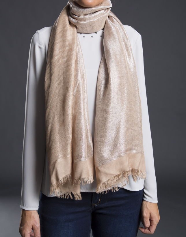Beige foulard with lurex