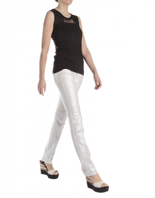 Pantalon en stretch fantaisie