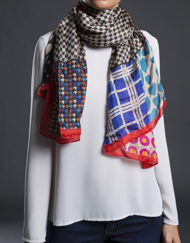 foulard estampado geometrico rojo