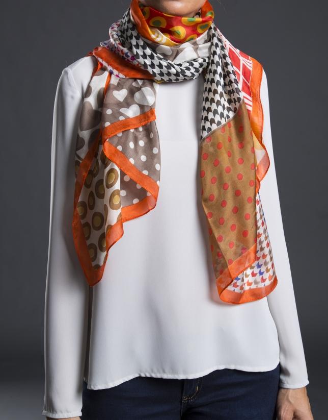 foulard estampado geometrico naranja
