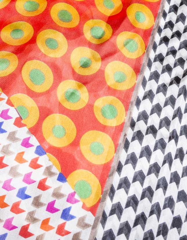 Orange geometric print foulard