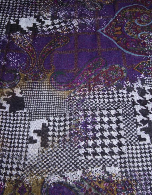 Cashmere / hound's-tooth print foulard