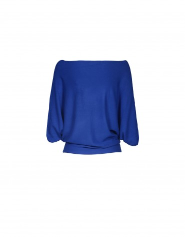 Wide sleeve boat neck blue pullover