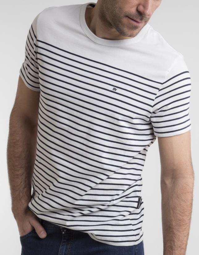 T-shirt à rayures bleu marine