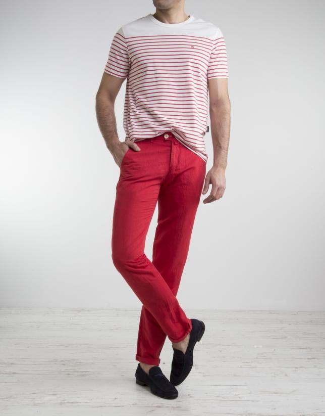 Camiseta rayas rojo