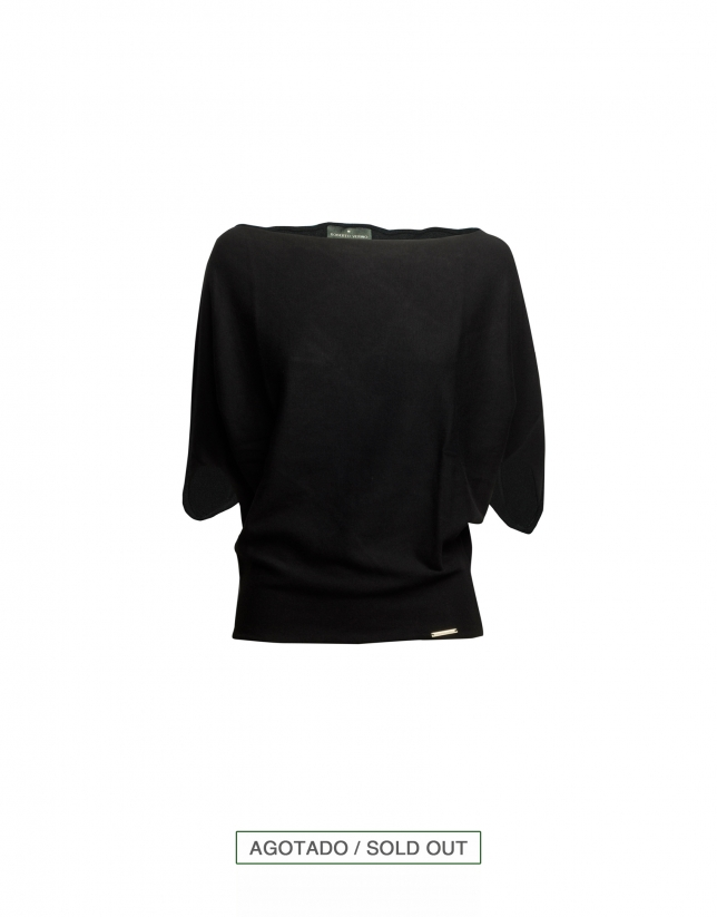 Wide sleeve boat neck pullover