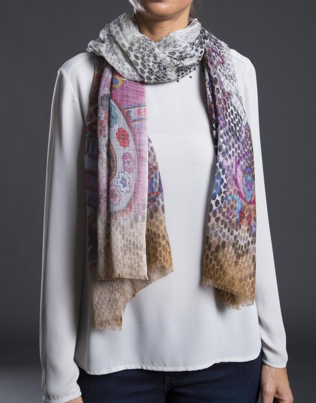 foulard estampado cachemir multicolor