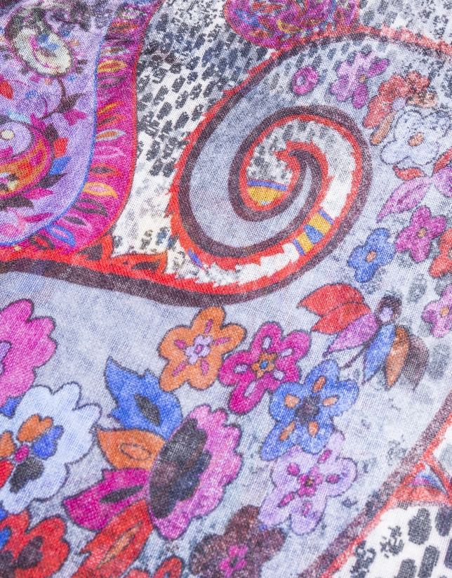 Multicolor cashmere print foulard