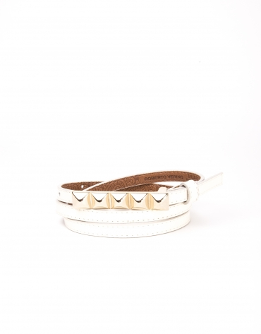 Cream colored leather belt
