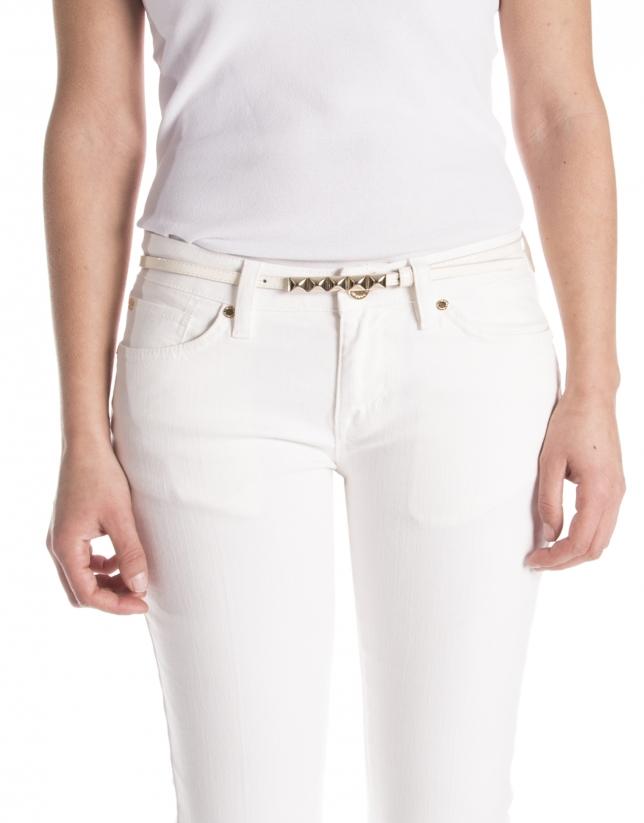 Cinturón piel color crema