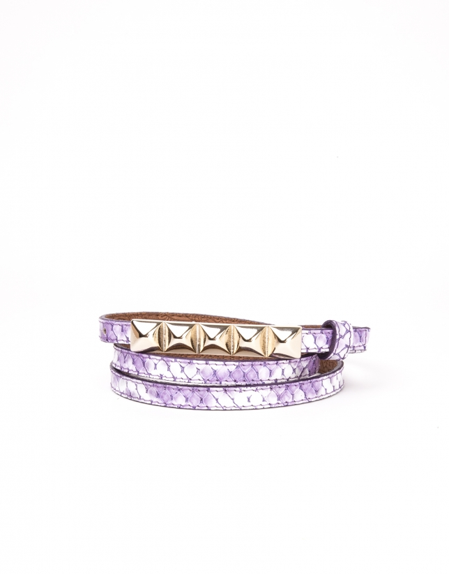 Violet colored leather belt