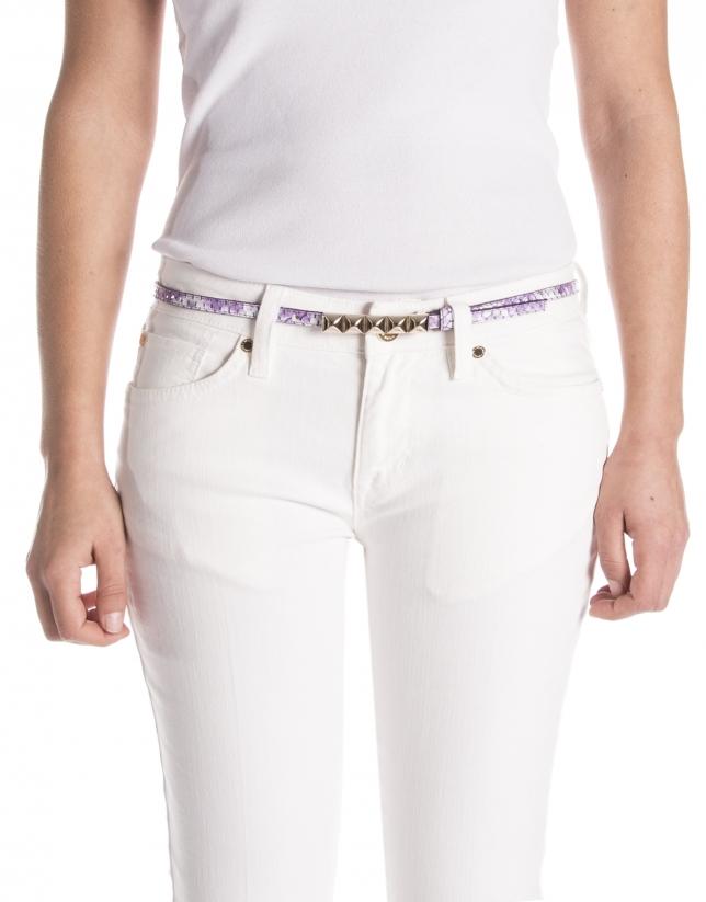 Violet colored leather belt