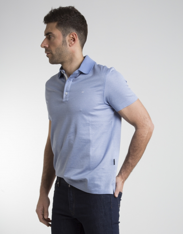 Light blue microprint polo