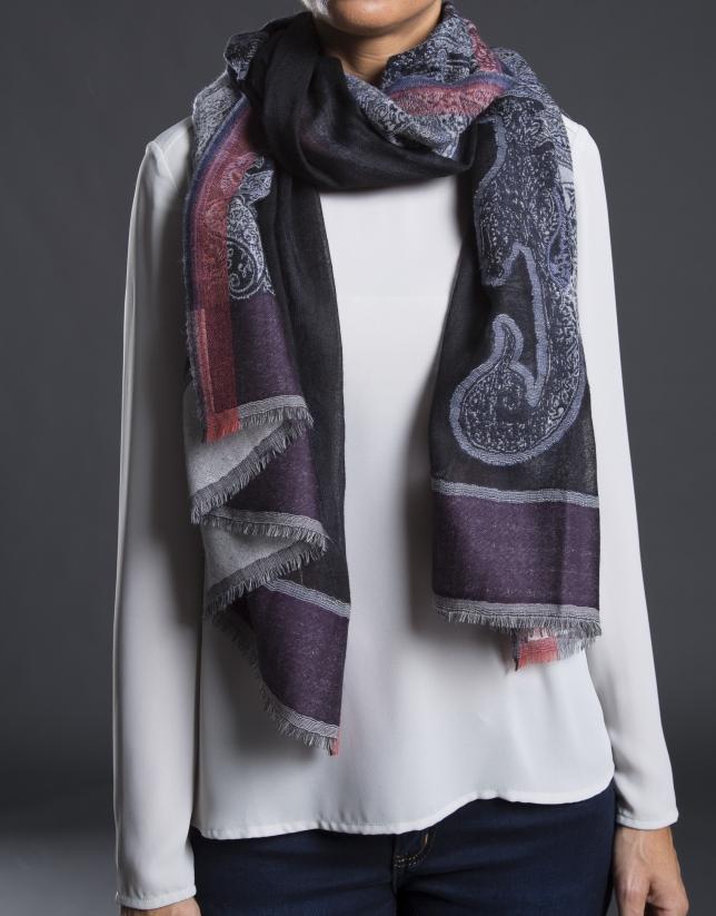 Cashmere print jacquard foulard