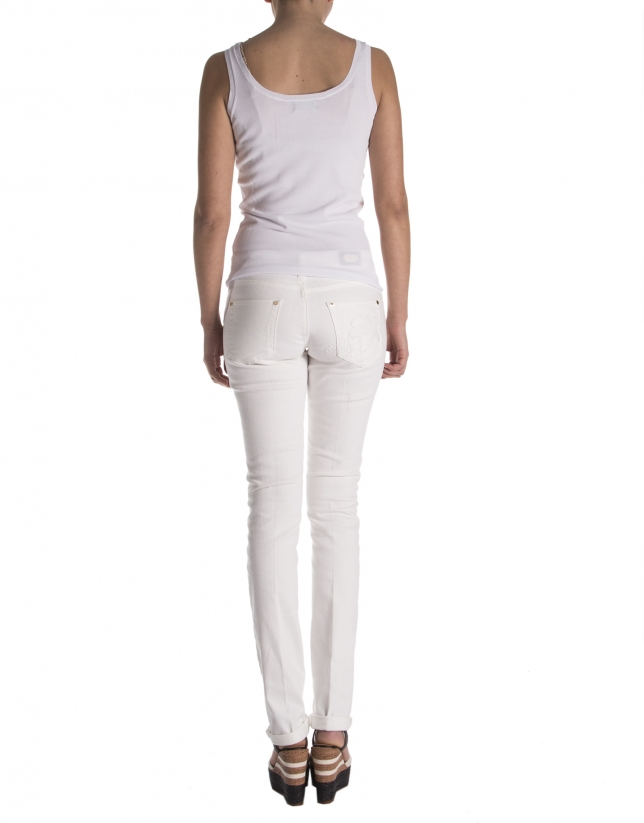 Pantalon en strech blanc cassé