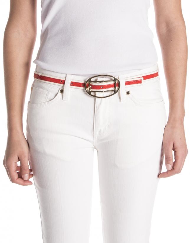 Cinturón piel crema y coral