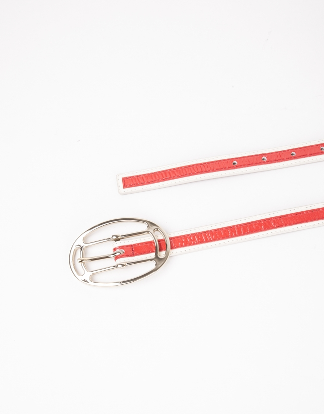 Cream and coral belt