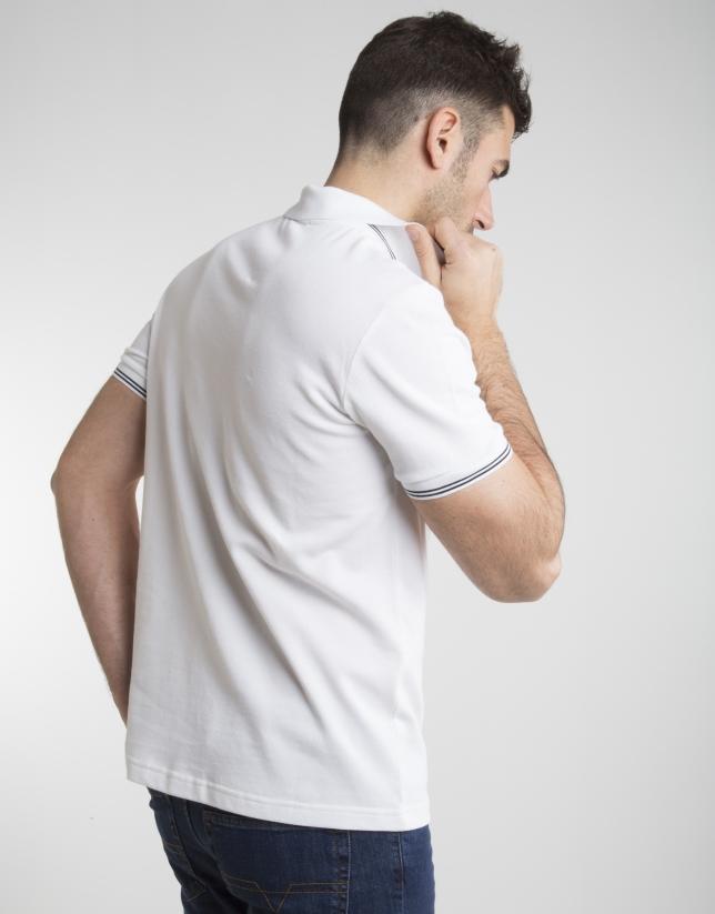 Polo en piqué blanc à contraste