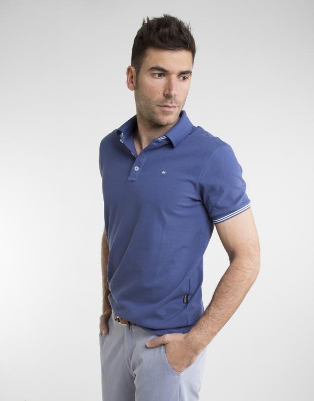 Polo en piqué bleu à contraste