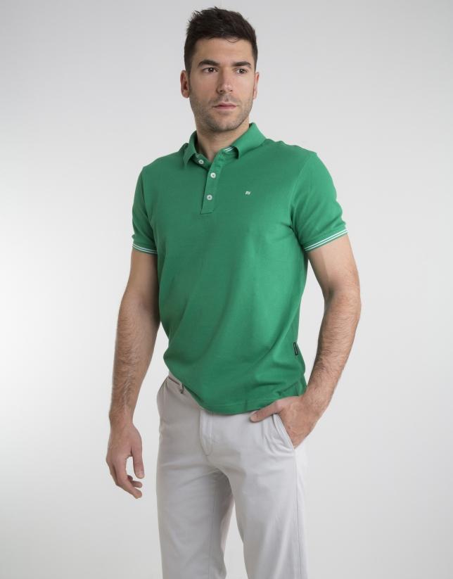 Contrasting green pique polo