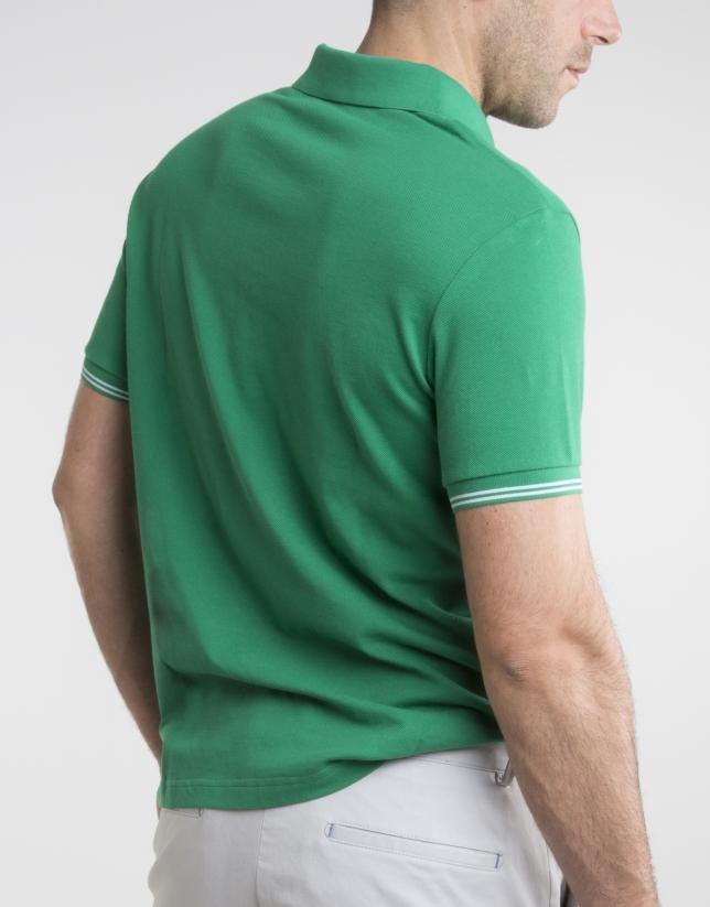 Polo en piqué vert à contraste
