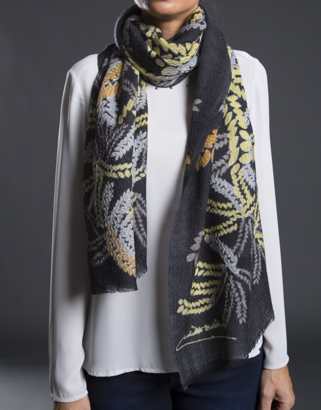 Mustard embroidered foulard