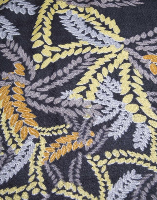 foulard bordado mostaza