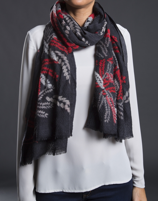 Red embroidered foulard