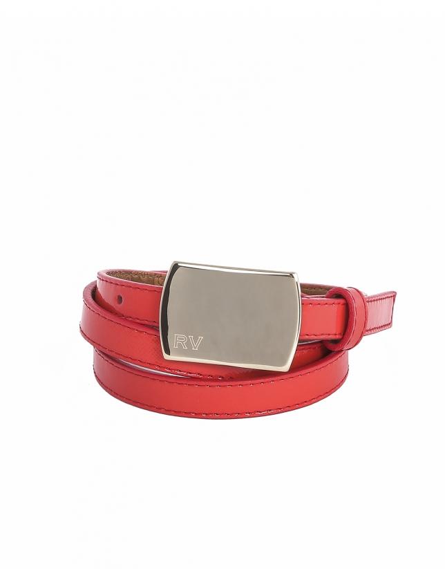 Cinturón piel color coral
