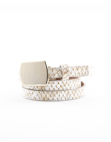 Beige embossed snakeskin belt