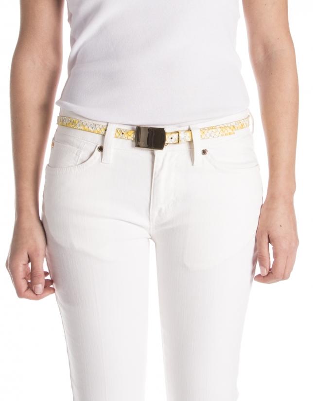 Cinturón piel color amarillo