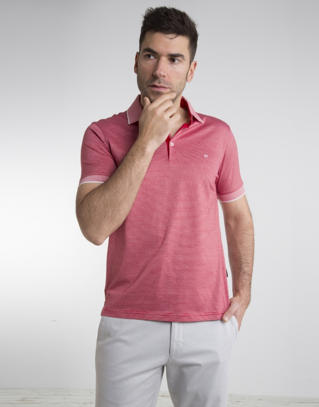 Red/white pinstriped polo