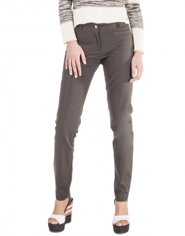 Pantalon marron à glissière
