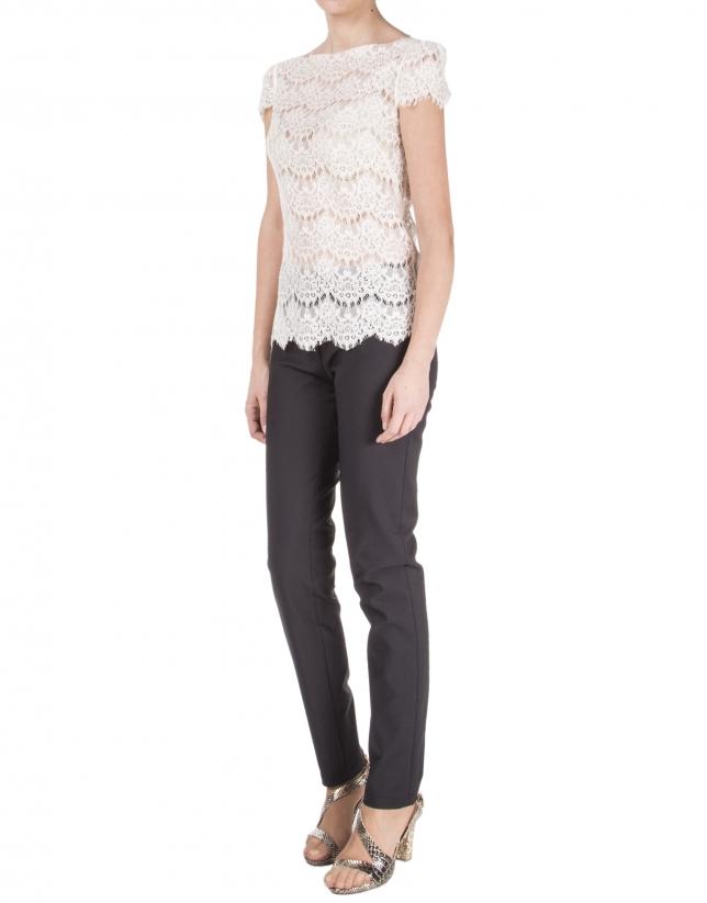 Pantalon noir à glissière